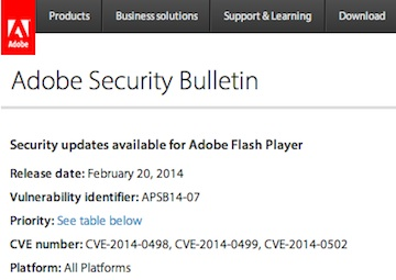 Adobe Flash Player Security Bulletin